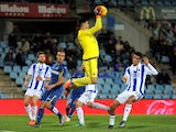 Guillermo Rulli of Real Sociedad de Futbo catches the ball during the La Liga match between Getafe CF and Real Sociedad de Futbol at Coliseum Alfonso Perez stadium on December 11, 2015