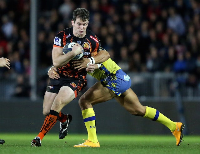 Sam Hill of Exeter Chiefs evades Hosea Gear of Clermont Auvergne during the European Rugby Champions Cup match between Exeter Chiefs and Clermont Auvergne at Sandy Park on December 12, 2015 in Exeter, England.