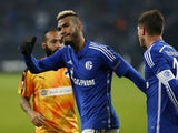 Schalke's Cameroonian forward Eric Maxim Choupo-Moting celebrates scoring during the UEFA Europa League football match FC Schalke 04 v APOEL FC in Gelsenkirchen, western Germany on November 26, 2015