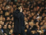 Mauricio Pochettino manager of Tottenham Hotspur looks thoughtful during the Barclays Premier League match between Tottenham Hotspur and Newcastle United at White Hart Lane on December 13, 2015