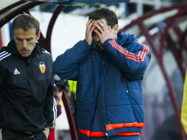 Head coach Gary Neville of Valencia CF reacts during the La Liga match between SD Eibar and Valencia CF at Ipurua Municipal Stadium on December 13, 2015 in Eibar, Spain.