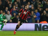 Adam Smith celebrates scoring for Bournemouth against West Brom on December 19, 2015