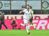 Antonio Candreva celebrates scoring for Lazio against Inter on December 20, 2015
