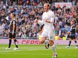 Gareth Bale celebrates scoring in Real Madrid's 10-2 win over Rayo Vallecano on December 20, 2015