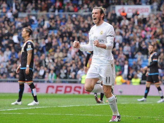 Gareth Bale celebrates scoring in Real Madrid's 10-2 win over Rayo Vallecano on December 20, 2015