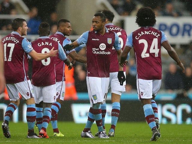 Jordan Ayew celebrates scoring Aston Villa's equaliser at Newcastle United on December 19, 2015