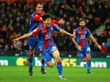 Lee Chung-yong celebrates scoring for Crystal Palace at Stoke City on December 19, 2015