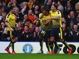 Nathan Ake celebrates scoring Watford's opener against Liverpool on December 20, 2015