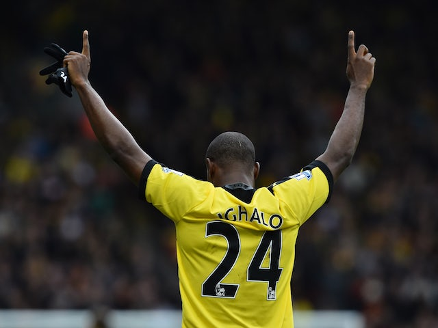 Odion Ighalo celebrates scoring Watford's second against Liverpool on December 20, 2015