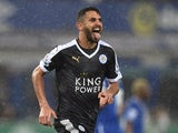 Riyad Mahrez celebrates scoring Leicester's second from the penalty spot against Everton on December 19, 2015