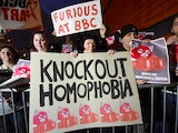 Protestors gather outside the SSE Arena in Belfast to campaign against Tyson Fury's inclusion on the BBC's Sports Sports Personality of the Year shortlist on December 20, 2015