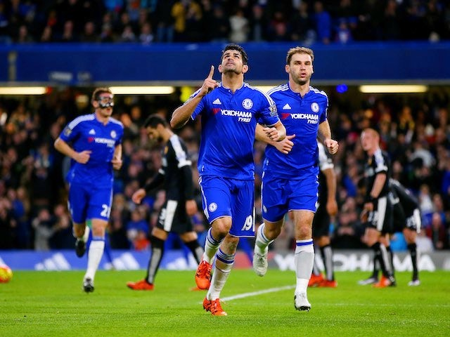 Diego Costa celebrates scoring Chelsea's first against Watford on December 26, 2015