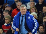 Chelsea boss Guus Hiddink strikes a pose in the dugout during the game with Watford on December 26, 2015