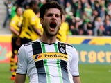 Havard Nordtveit celebrates scoring for Borussia Monchengladbach against Bayern Munich on April 11, 2015