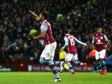 Jordan Ayew celebrates scoring a penalty for Aston Villa against West Ham on December 26, 2015