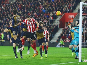 Jose Fonte heads in Southampton's third against Arsenal on December 26, 2015