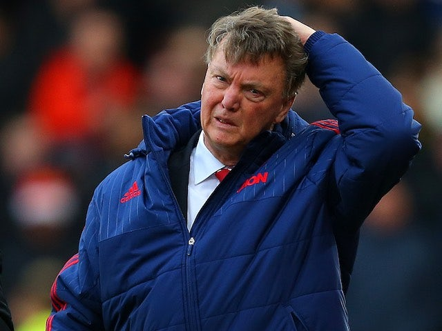 Louis van Gaal looks upset as he emerges for the second half of Manchester United's game at Stoke City on December 26, 2015