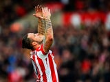 Marko Arnautovic celebrates scoring Stoke's second against Manchester United on December 26, 2015