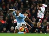 Vincent Kompany injures himself minutes after coming on for Man City against Sunderland on December 26, 2015