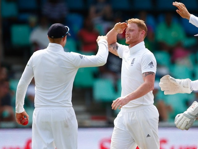 Ben Stokes celebrates taking the wicket of Stiaan Van Zyl on day four of the first Test between South Africa and England on December 29, 2015