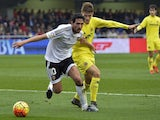 Dani Parejo and Denis Suarez in action during the game between Villarreal and Valencia on December 31, 2015