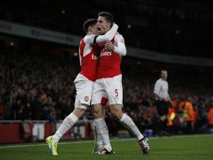 Gabriel celebrates scoring for Arsenal against Bournemouth on December 28, 2015