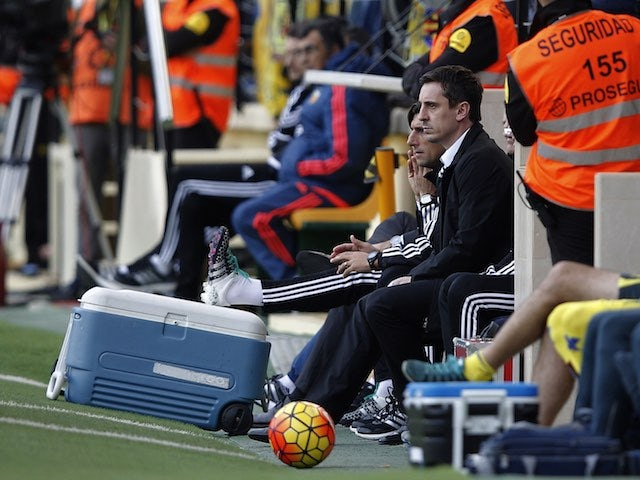 Gary Neville watches on during the game between Villarreal and Valencia on December 31, 2015