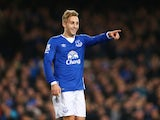 Gerard Deulofeu celebrates scoring Everton's third against Stoke on December 28, 2015