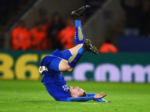 Jamie Vardy attempts auto-fellatio during the game between Leicester City and Manchester City on December 29, 2015