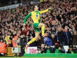 Jonny Howson celebrates scoring Norwich's opener against Aston Villa on December 28, 2015