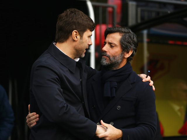 Spurs boss Mauricio Pochettino and Watford counterpart Quique Flores embrace on December 28, 2015