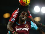 Victor Wanyama and Alex Song in action during the game between West Ham and Southampton on December 28, 2015