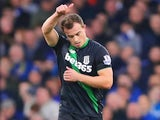 Xherdan Shaqiri celebrates scoring Stoke's opener against Everton on December 28, 2015