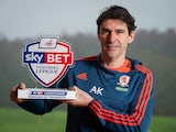 Middlesbrough boss Aitor Karanka poses with his Manager of the Month award for December 2015