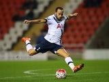 Andros Townsend in action for the Spurs Under-21s against the Man Utd Under-21s on January 4, 2016