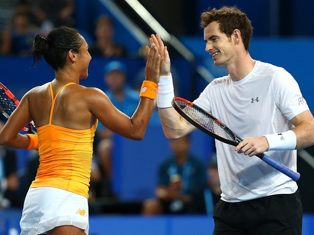 Heather Watson and Andy Murray of Great Britain celebrate a point in the mixed doubles against Caroline Garcia and Kenny De Schepper of France at the 2016 Hopman Cup on January 4, 2016