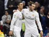 Gareth Bale puts a tender arm around Cristiano Ronaldo during the game between Real Madrid and Deportivo La Coruna on January 9, 2016
