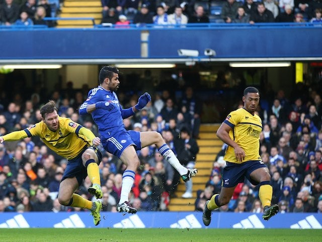 Diego Costa celebrates scoring during the FA Cup game between Chelsea and Scunthorpe on January 10, 2016