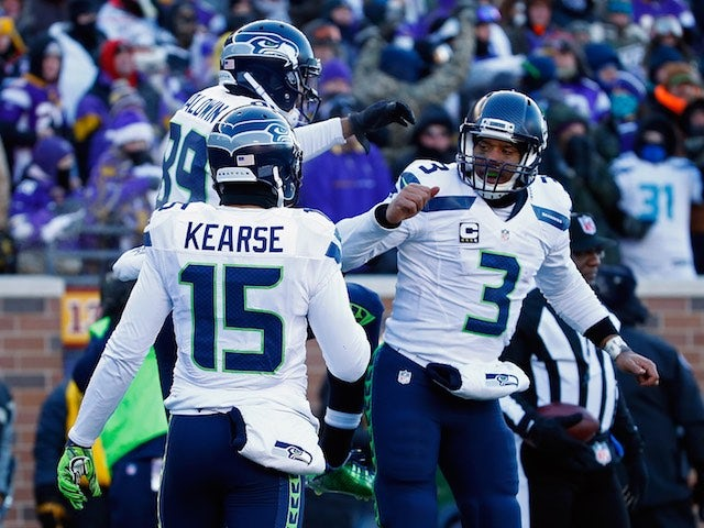 Doug Baldwin celebrates scoring a touchdown during the wildcard game between Seattle Seahawks and Minnesota Vikings on January 10, 2016