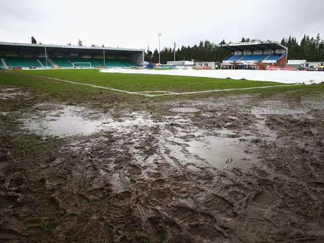 A muddy Silverlake Stadium prior to the FA Cup third-round match between Eastleigh and Bolton Wanderers on January 9, 2016