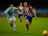 Hugo Mallo and Saul Niguez in action during the game between Celta Vigo and Atletico Madrid on January 10, 2016