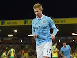 Little Kevin de Bruyne celebrates scoring during the FA Cup game between Norwich and Man City on January 9, 2016
