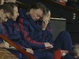 Louis van Gaal looking like he's having a right old mare during the FA Cup game between Manchester United and Sheffield United on January 9, 2016