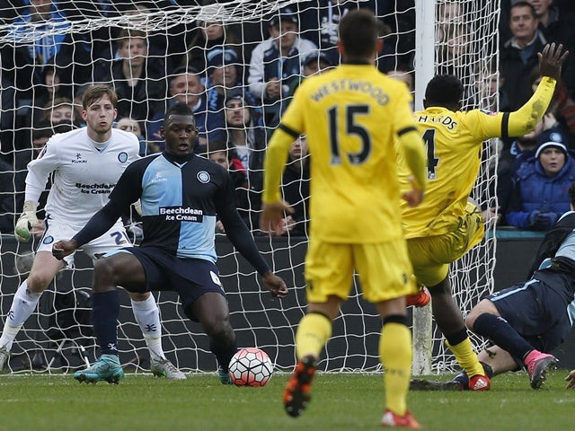 Micah Richards scores for Aston Villa during their FA Cup third-round clash with Wycombe Wanderers on January 9, 2016