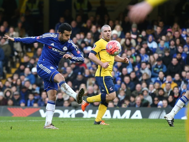 Chelsea's Pedro attempts an unsuccessful shot on goal during the FA Cup third-round match against Scunthorpe United at Stamford Bridge  on January 10, 2016