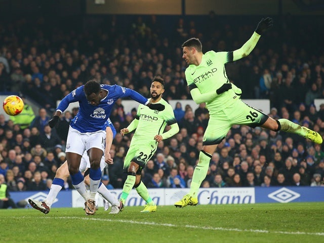 Romelu Lukaku scores Everton's second during the League Cup semi-final first leg against Manchester City at Goodison Park on January 6, 2016