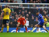 Ruben Loftus-Cheek scores Chelsea's second goal during the FA Cup third-round match against Scunthorpe United at Stamford Bridge on January 10, 2016