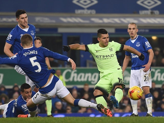 Manchester City's Sergio Aguero slices his shot wide during the League Cup semi-final first leg against Everton at Goodison Park on January 6, 2016