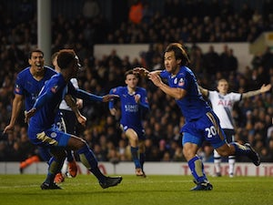 Shinji Okazaki of Leicester City celebrates after scoring his team's second goal during against Tottenham Hotspur at White Hart Lane on January 10, 2016