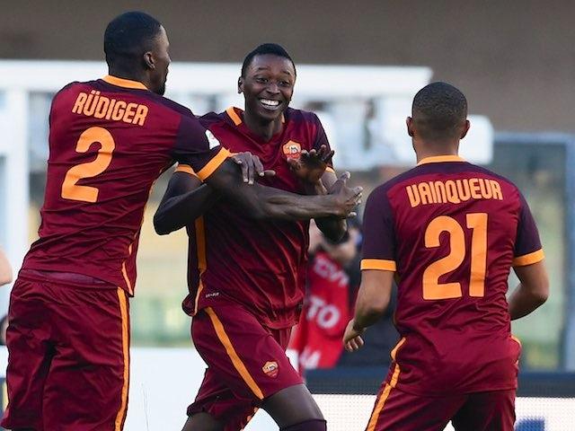 Umar Sadiq celebrates during the game between Chievo and Roma on January 6, 2016